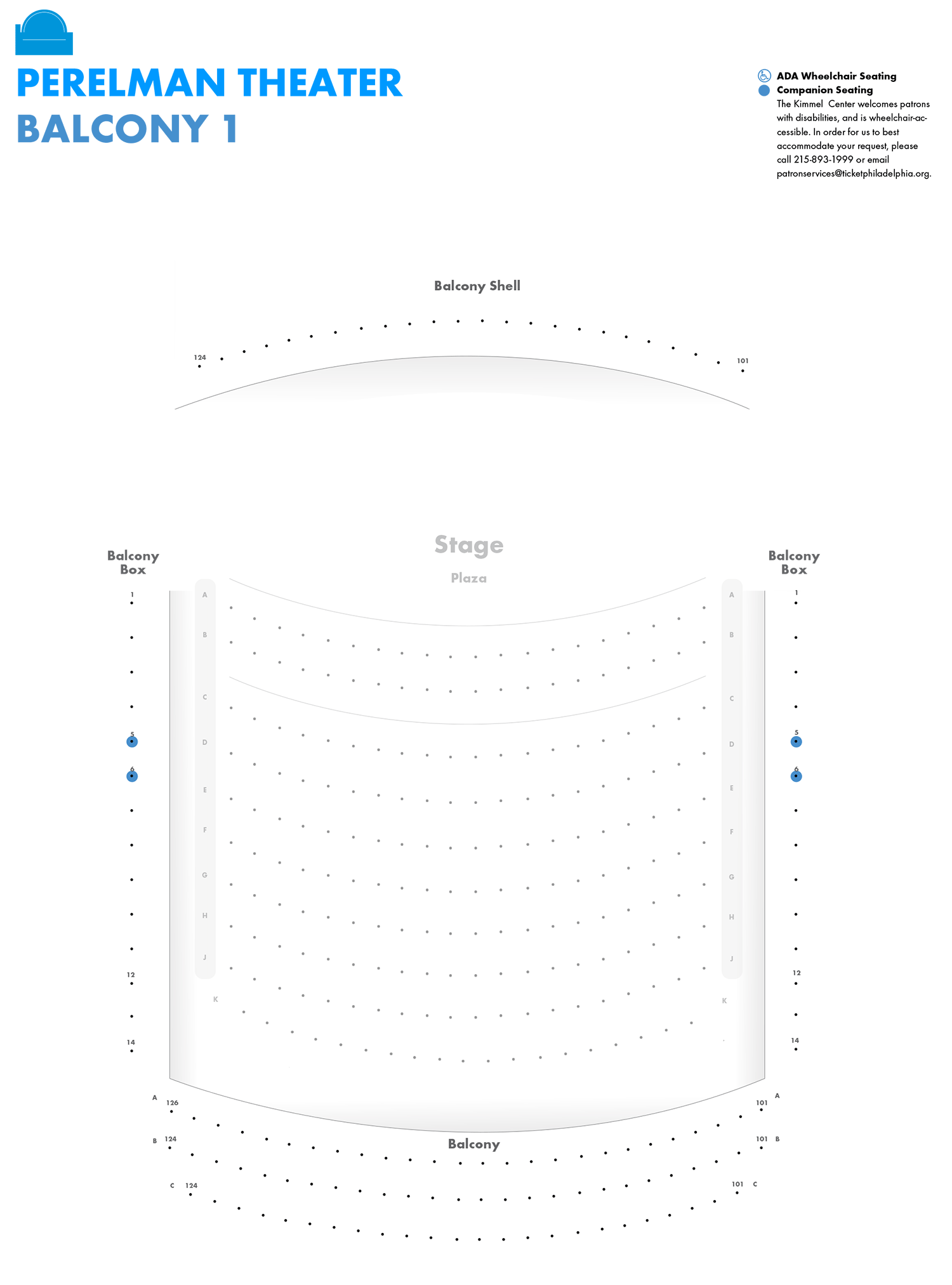 Perelman Theater - First Balcony - Seating Chart