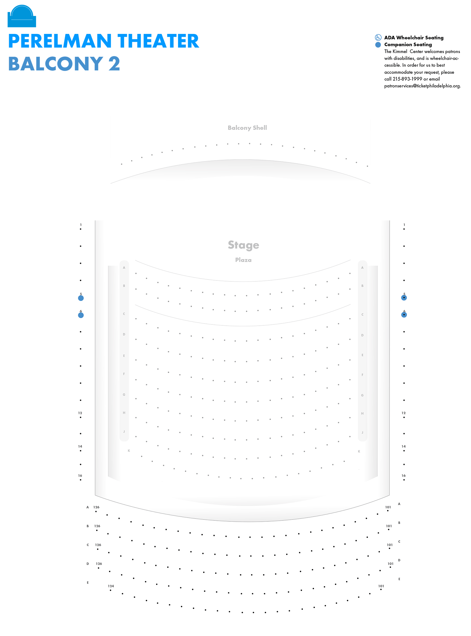Perelman Theater - Second Balcony - Seating Chart