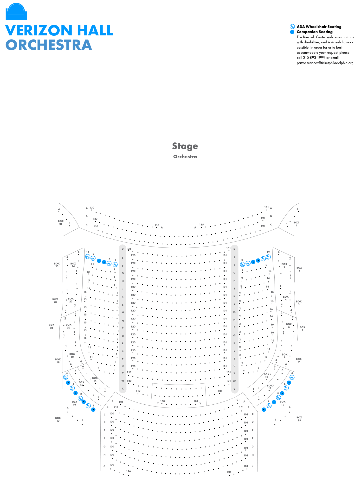 Image of Verizon Hall - Orchestra Level - Seating Chart