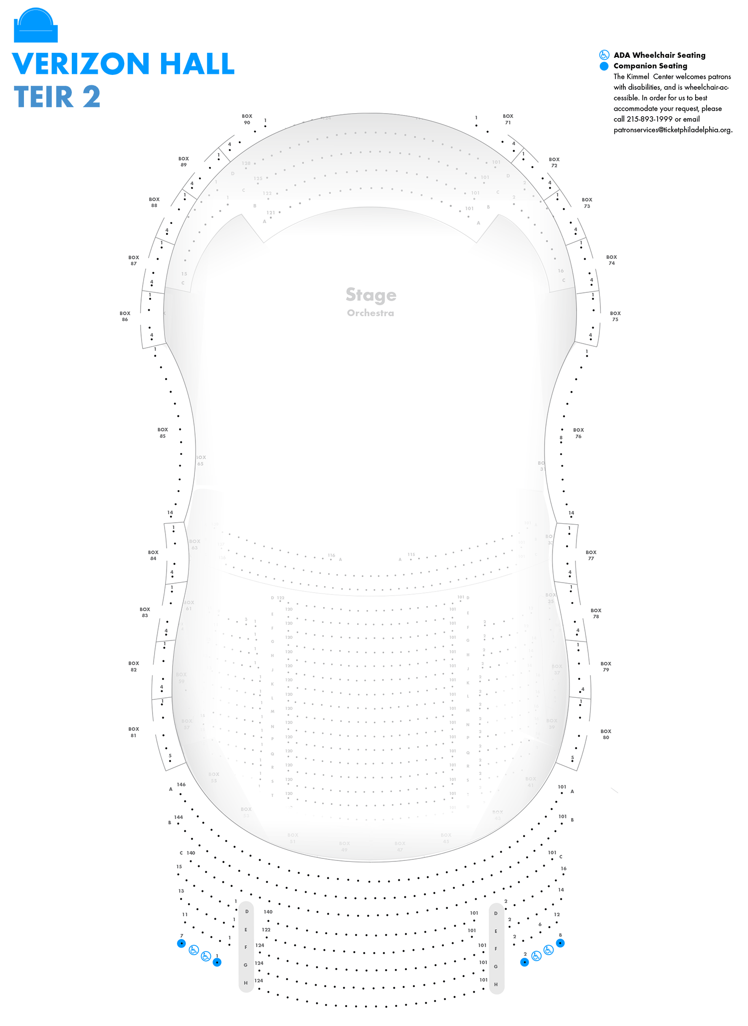 Verizon Hall Second Tier Seating Chart