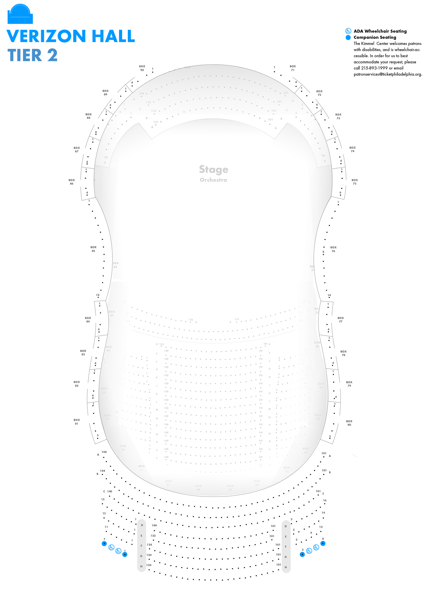 Verizon Hall - Second Tier - Seating Chart