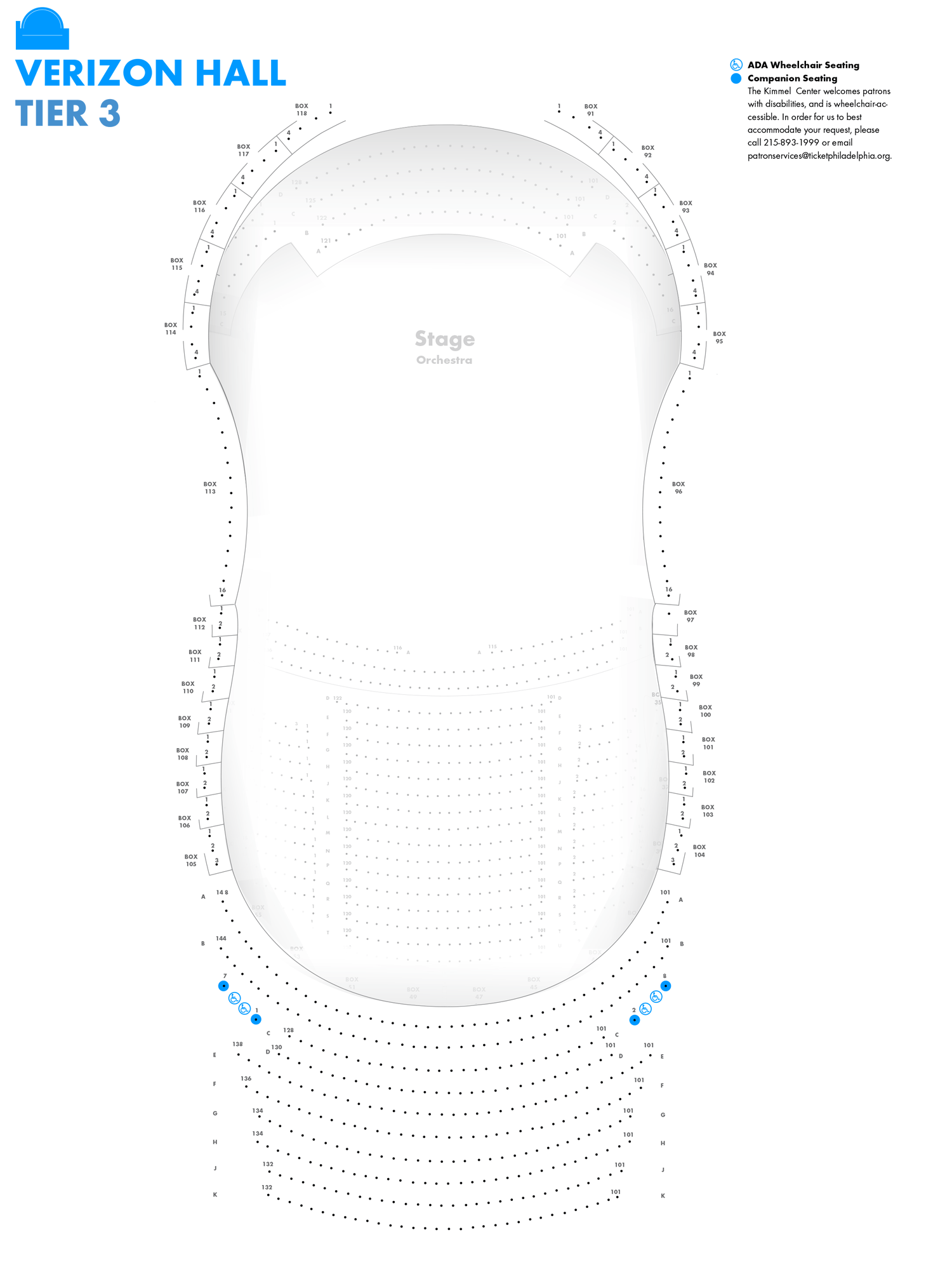 Verizon Hall - Third Tier - Seating Chart